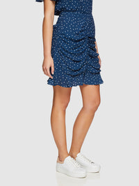 AMBER SPOT SKIRT NAVY/WHITE