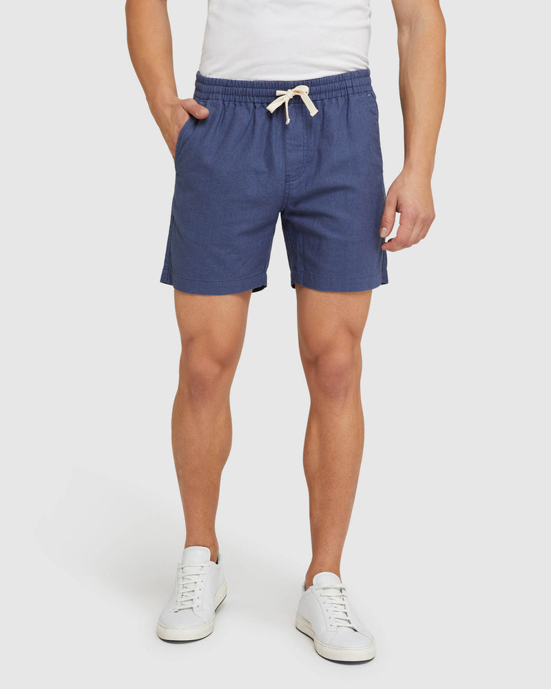 TOBY LINEN COTTON SHORTS INDIGO