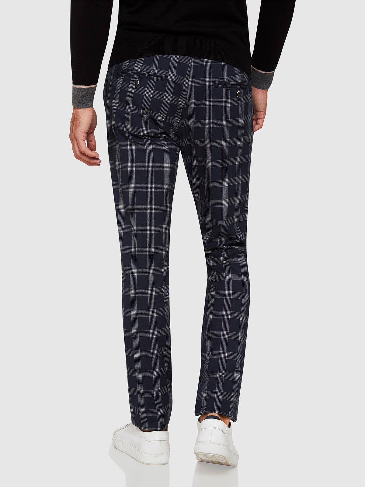BARNEY CHECKED CROP TROUSERS NAVY