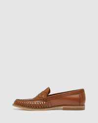 BERT LEATHER WOVEN SLIP ON SHOE TAN