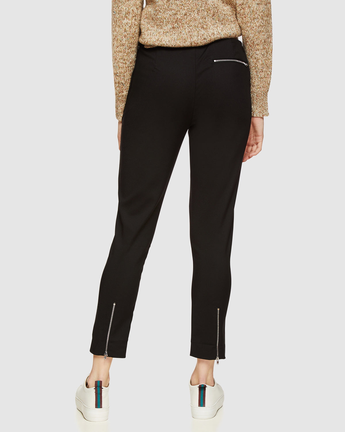 JACKIE ZIPPER CROP STRETCH PANTS BLACK
