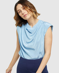 CARRINGTON BOLD SHOULDER TOP BLUE