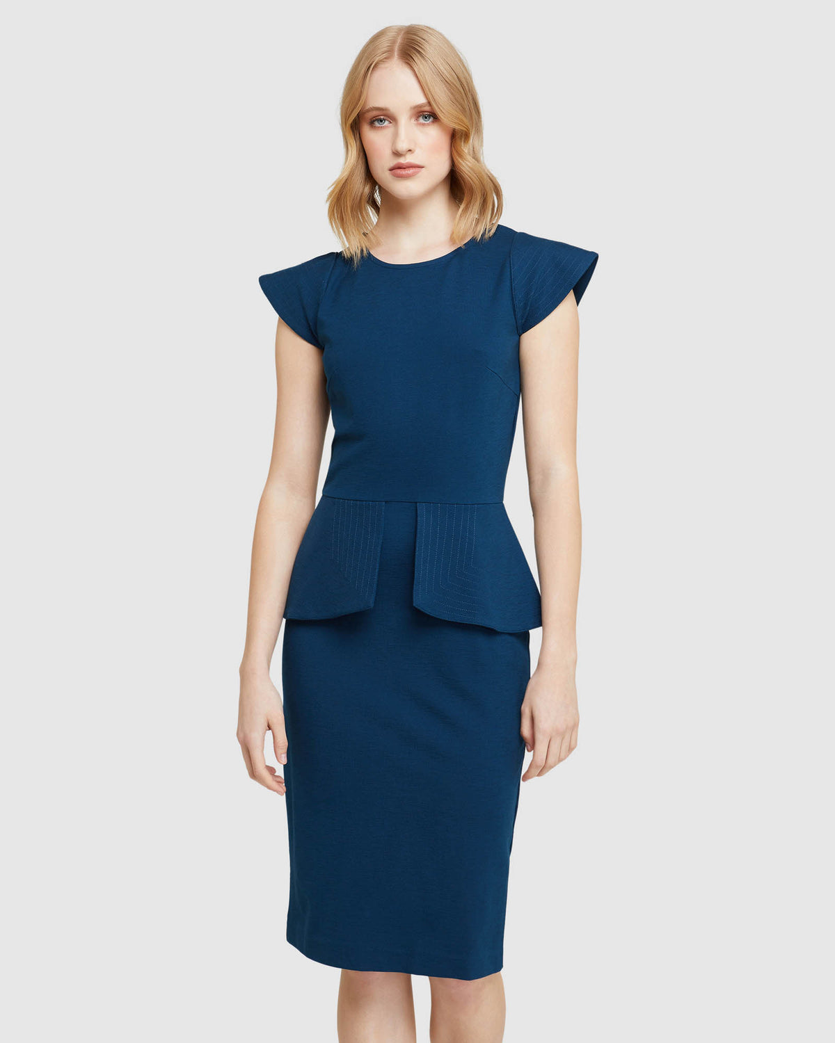 BELLA PEPLUM PONTI DRESS