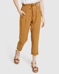 OLIVE DRAWSTRING VISCOSE PANTS