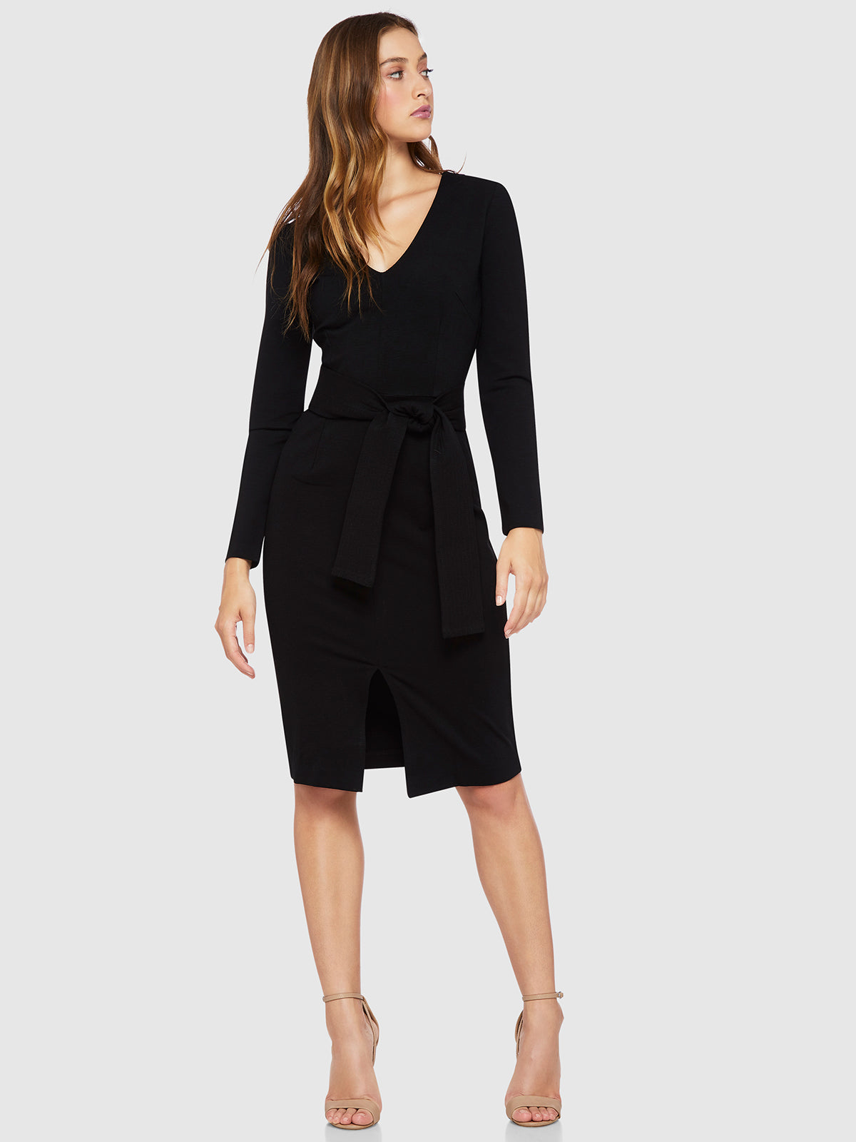 ALICIA PONTI BELT WAIST DRESS BLACK