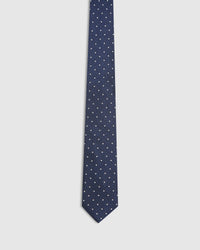 SILK TEXTURED REGULAR SPOT TIE NAVY/WHITE