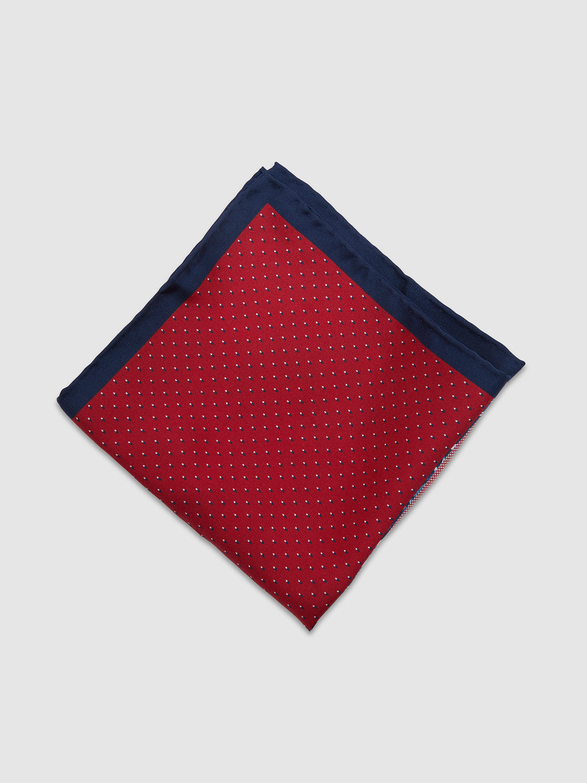 POCKET SQUARE PRINTED SILK TROPICAL MULTI RED/NAVY TROPICAL