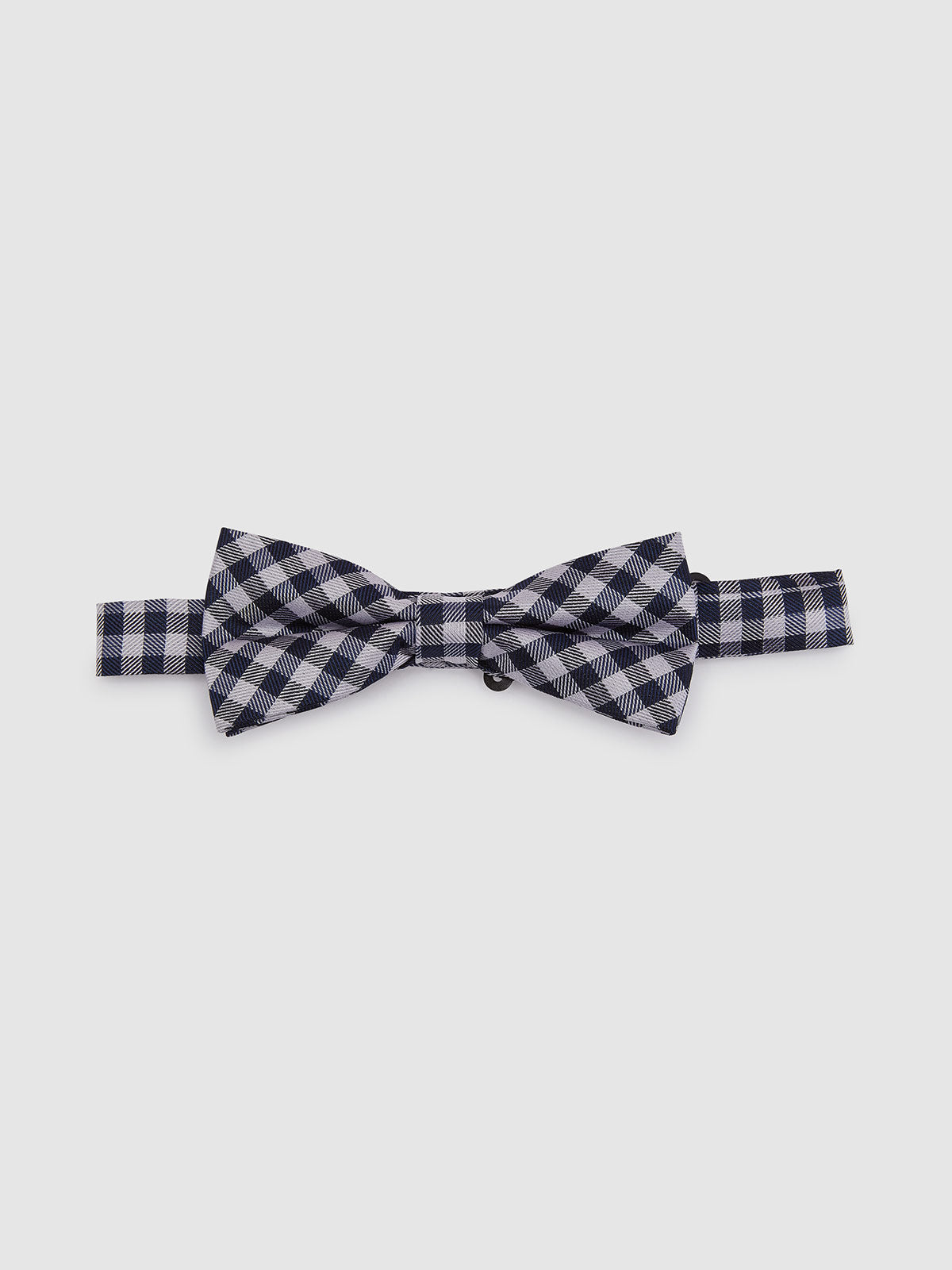 BOW TIE GINGHAM NAVY/SILVER