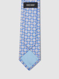 PAISLEY FLOWER TIE BLUE/ORANGE