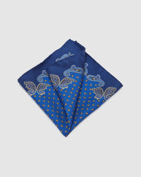 BORDER PAISLEY POCKET SQUARE NAVY MULTI