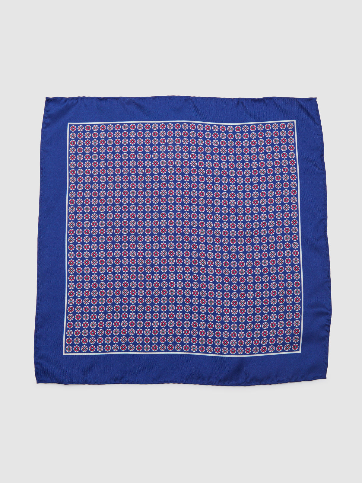 FLORAL GRID POCKET SQUARE BLUE/PINK