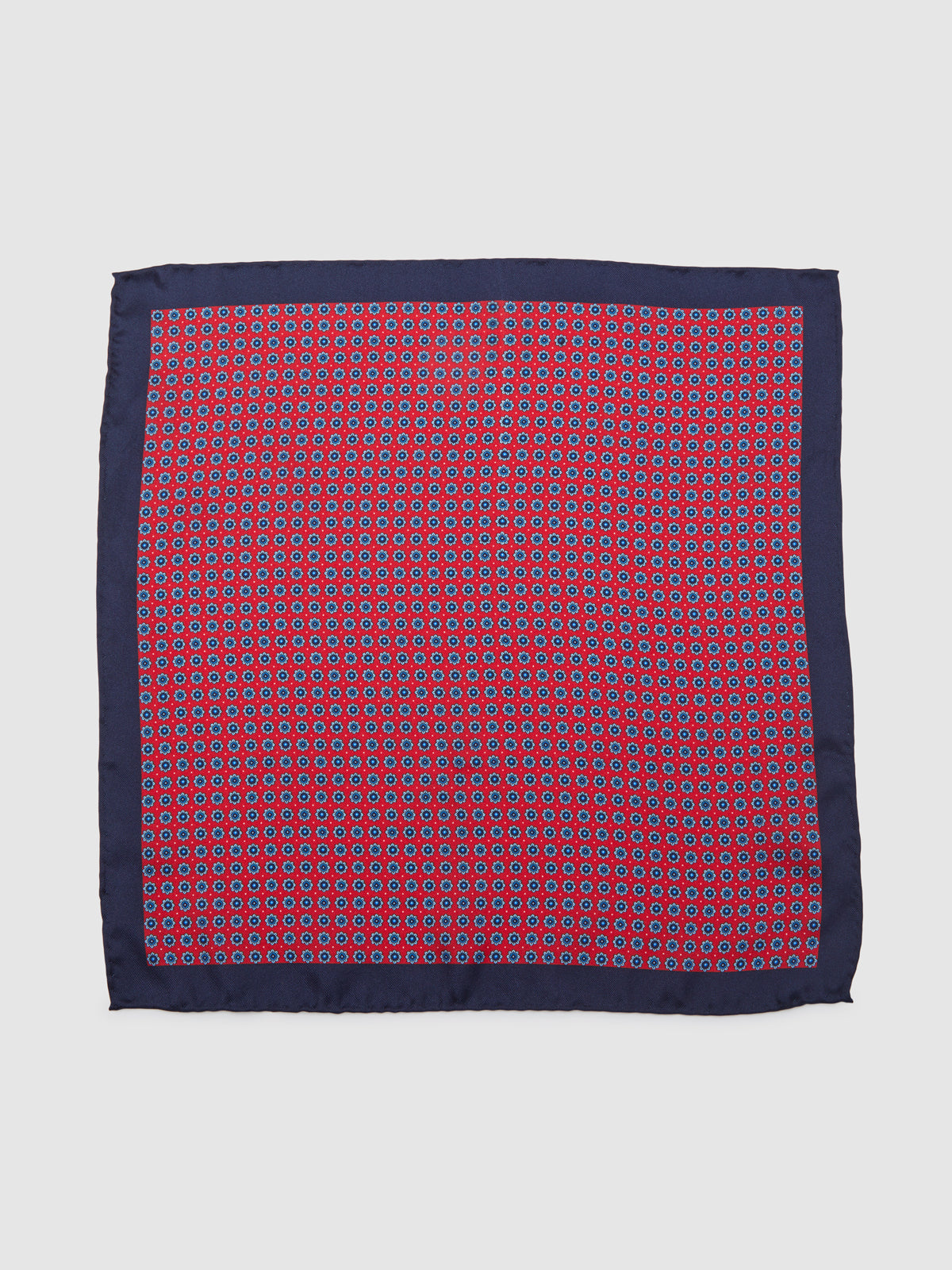 NAUTICAL FLORAL POCKET SQUARE RED/NAVY