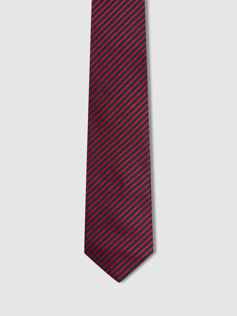 SILK HERRINGBONE STRIPE TIE NAVY/RED