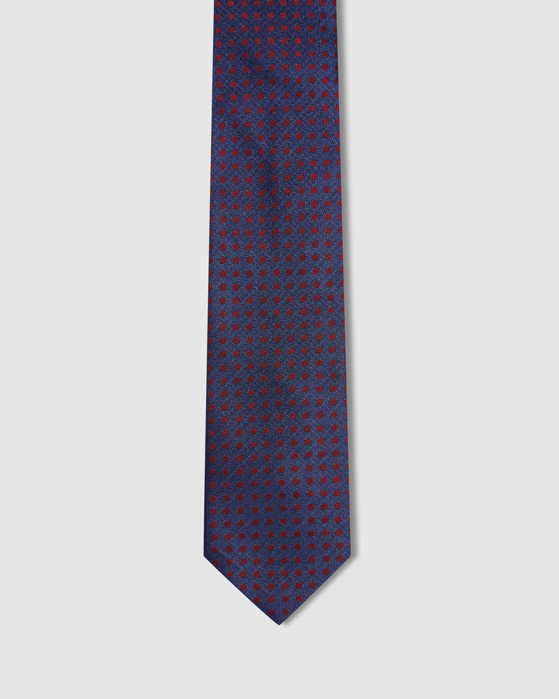 SILK TEXTURE WITH SPOT TIE NAVY/RED
