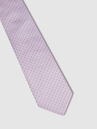 TEENIE DOT SILK TIE PURPLE/NAVY