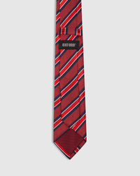 MULTI STRIPE SILK TIE RED/NAVY