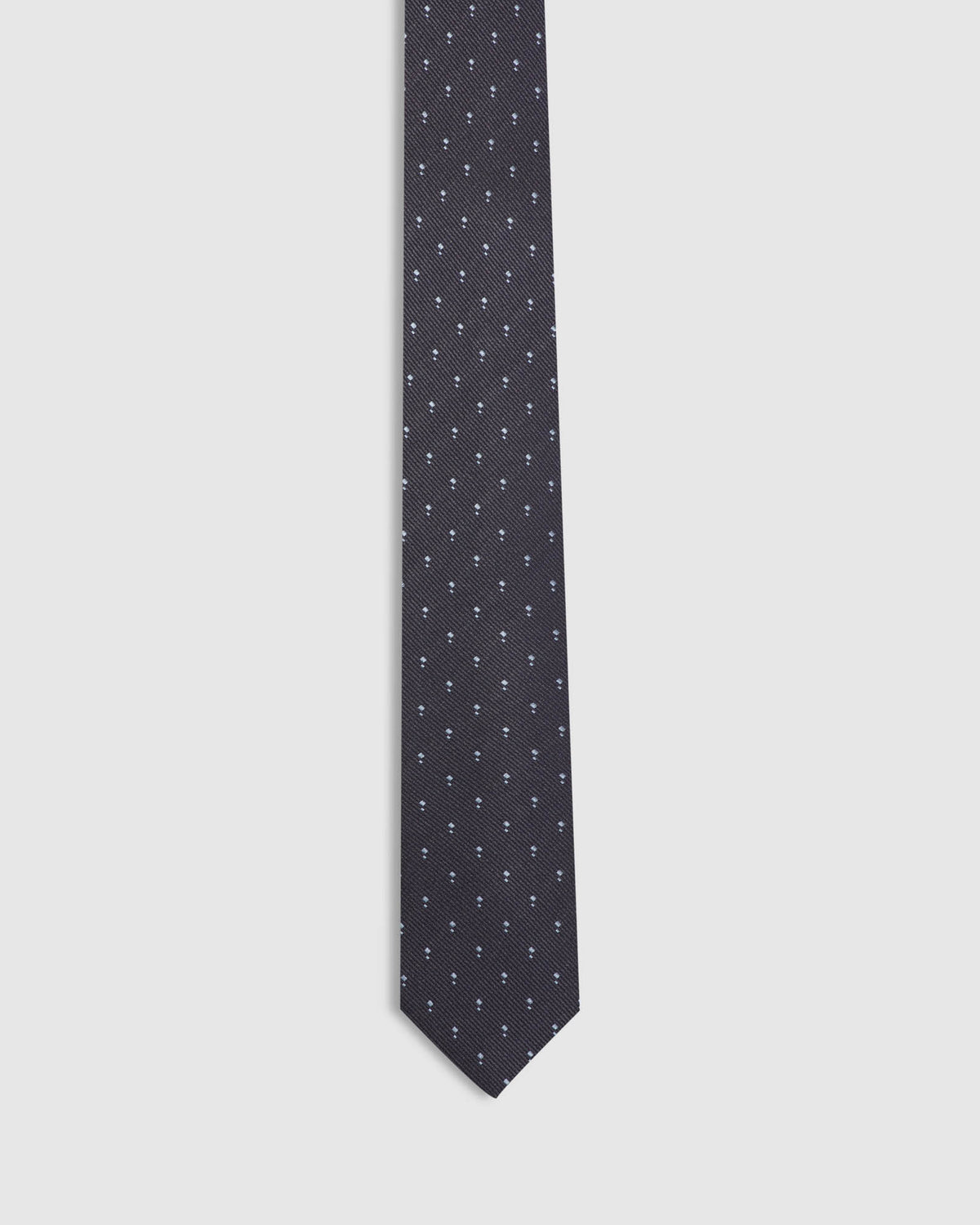 SQUARED SILK SKINNY TIE CHARCOAL/BLUE