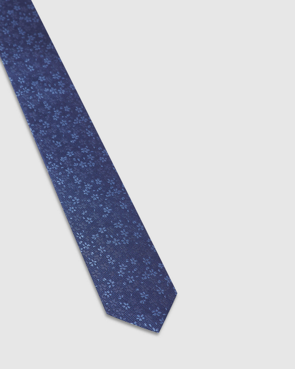 MINI FLORAL SILK SKINNY TIE DENIM