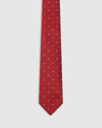 SPOT SILK TIE RED/BLUE