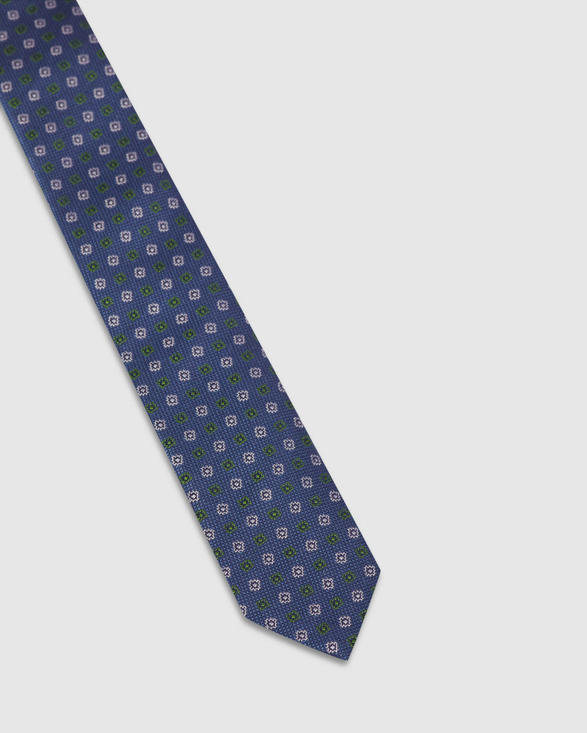 TEXTURED SQUARE SILK SKINNY TIE NAVY/GREEN