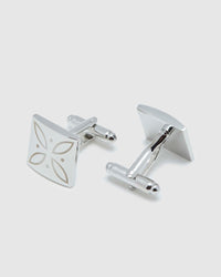 WHITE INLAY SQUARE CUFFLINK SET