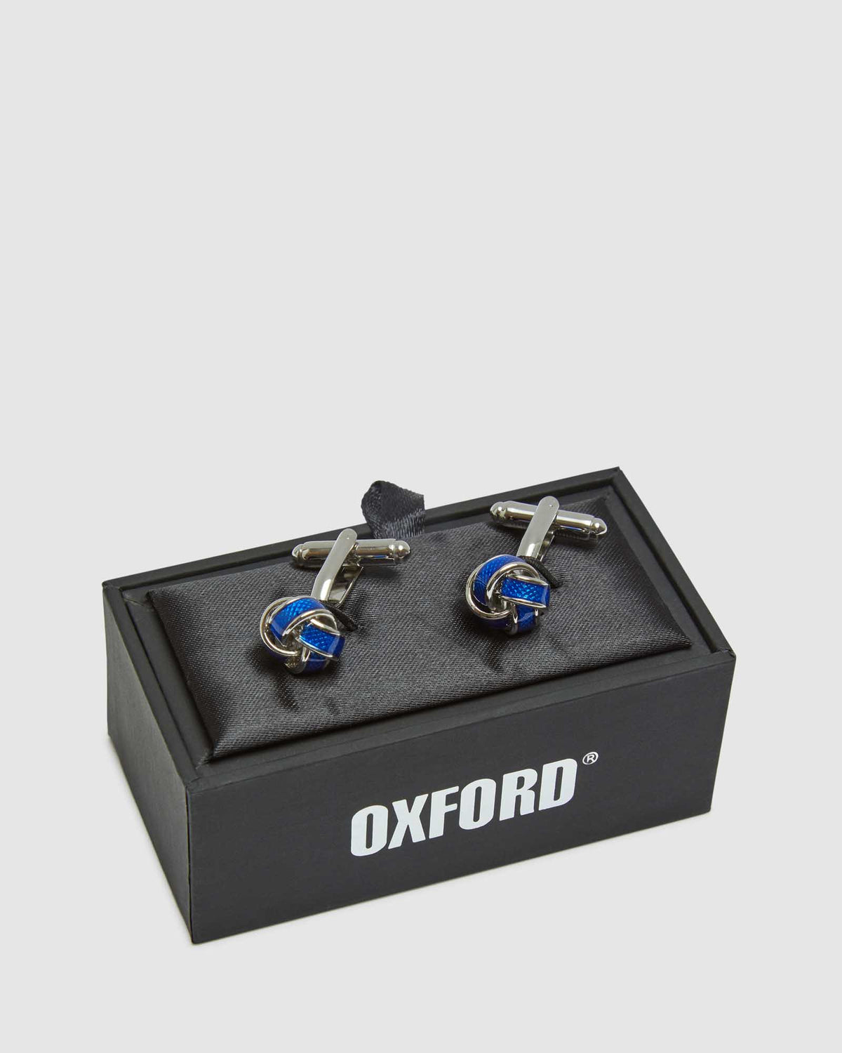 ENAMELLED KNOT CUFF LINK SET SILVER/BLUE