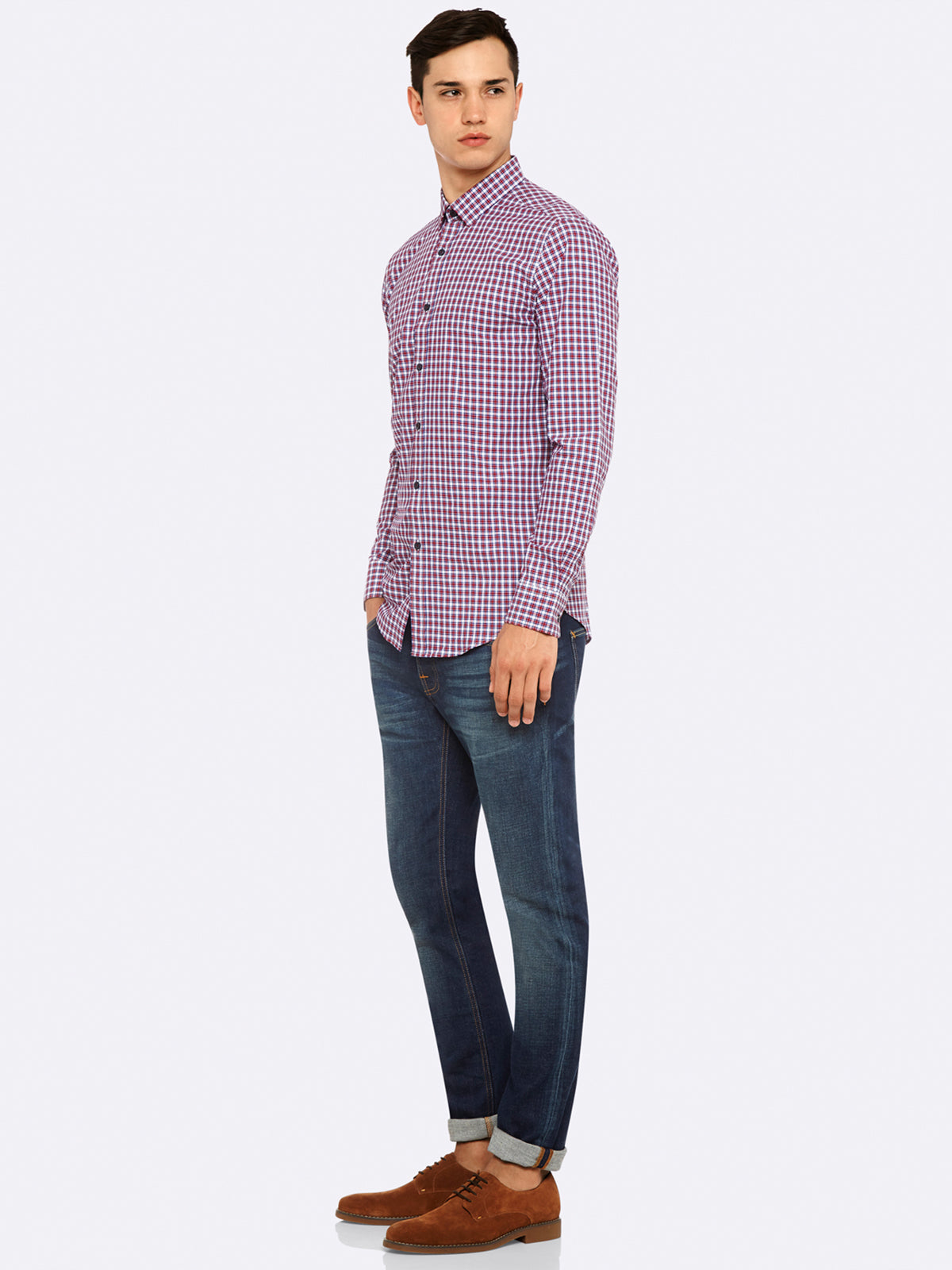 KENTON CHECK SHIRT BLU/MULBERRY