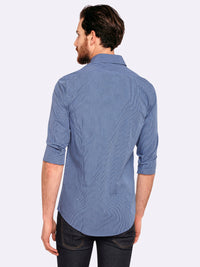 KENTON MINI CHECK SHIRT BLUE