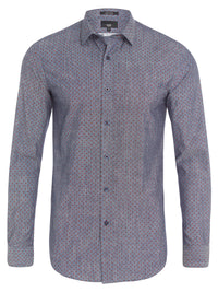 KENTON PRINTED LUX SHIRT RED/INDIGO