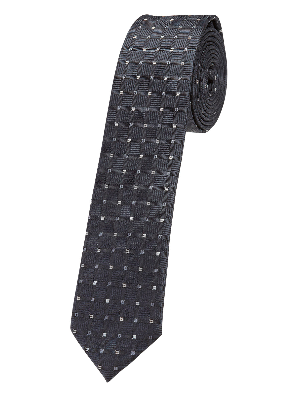 TIE SILK DIAMOND TEXTURED SKINNY GRANITE