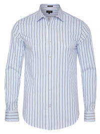 BECKTON FRENCH CUFF STRIPED SHIRT BLUE