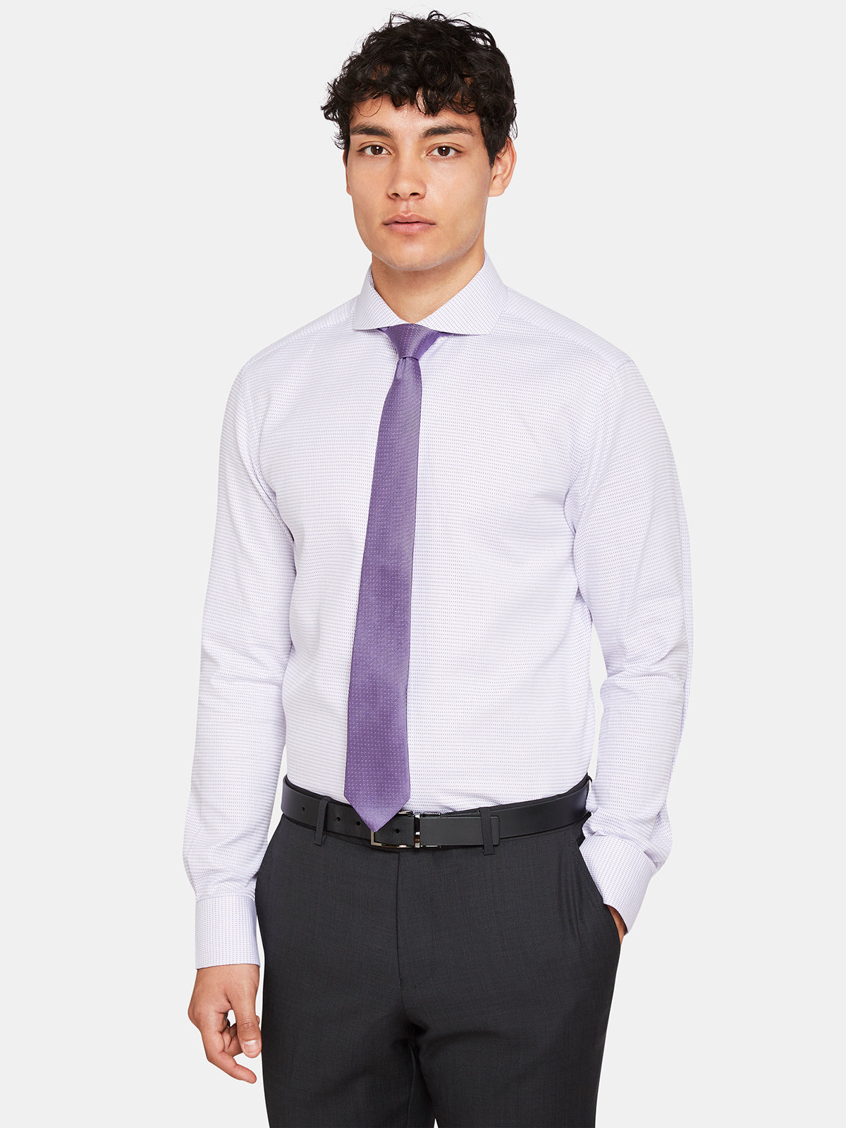 KENSINGTON DOBBY SHIRT PURPLE