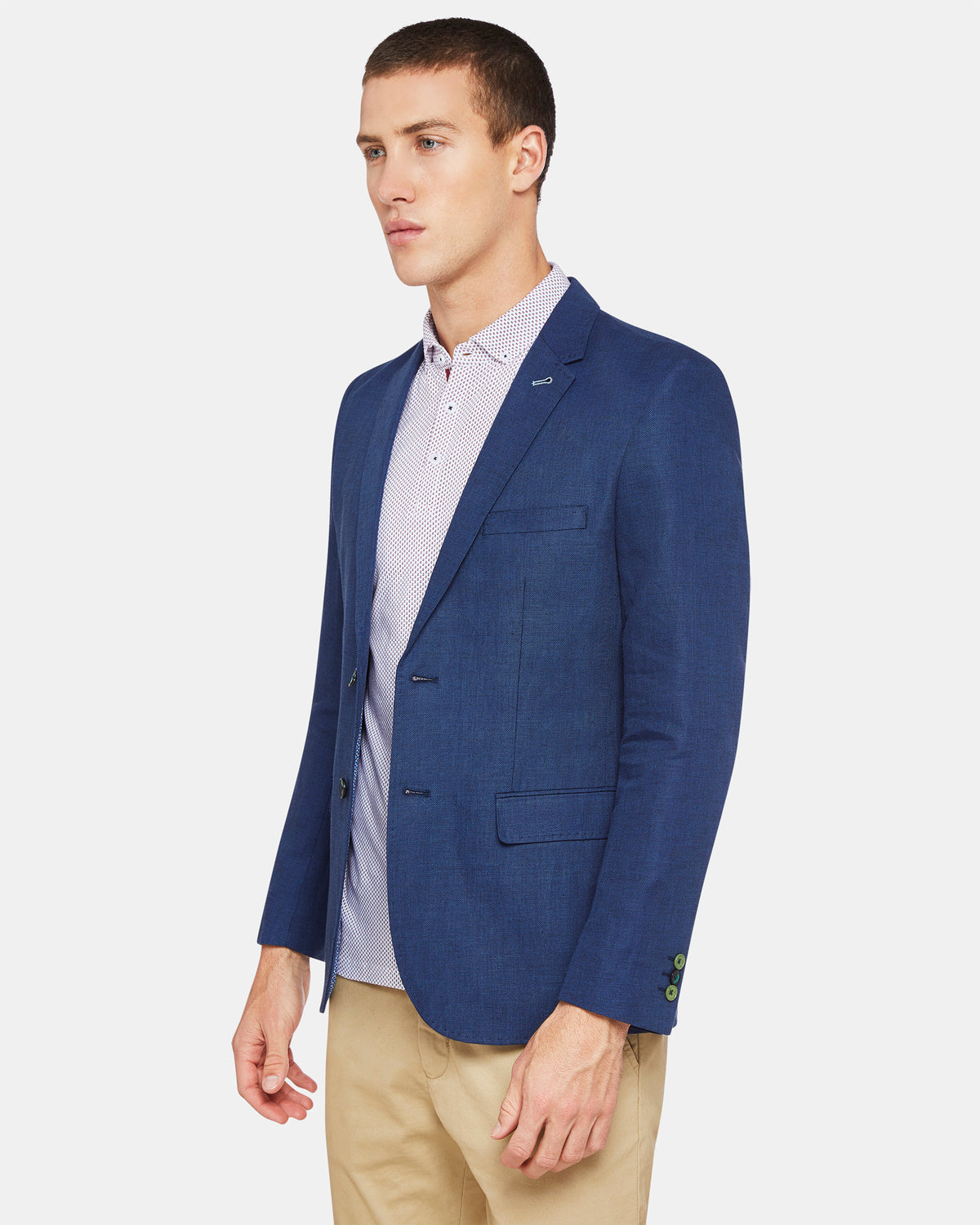 LARKIN COTTON/LINEN BLAZER BLUE