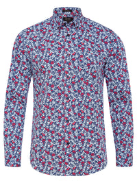 STRATTON FLORAL PRINTED SHIRT BLUE/RED