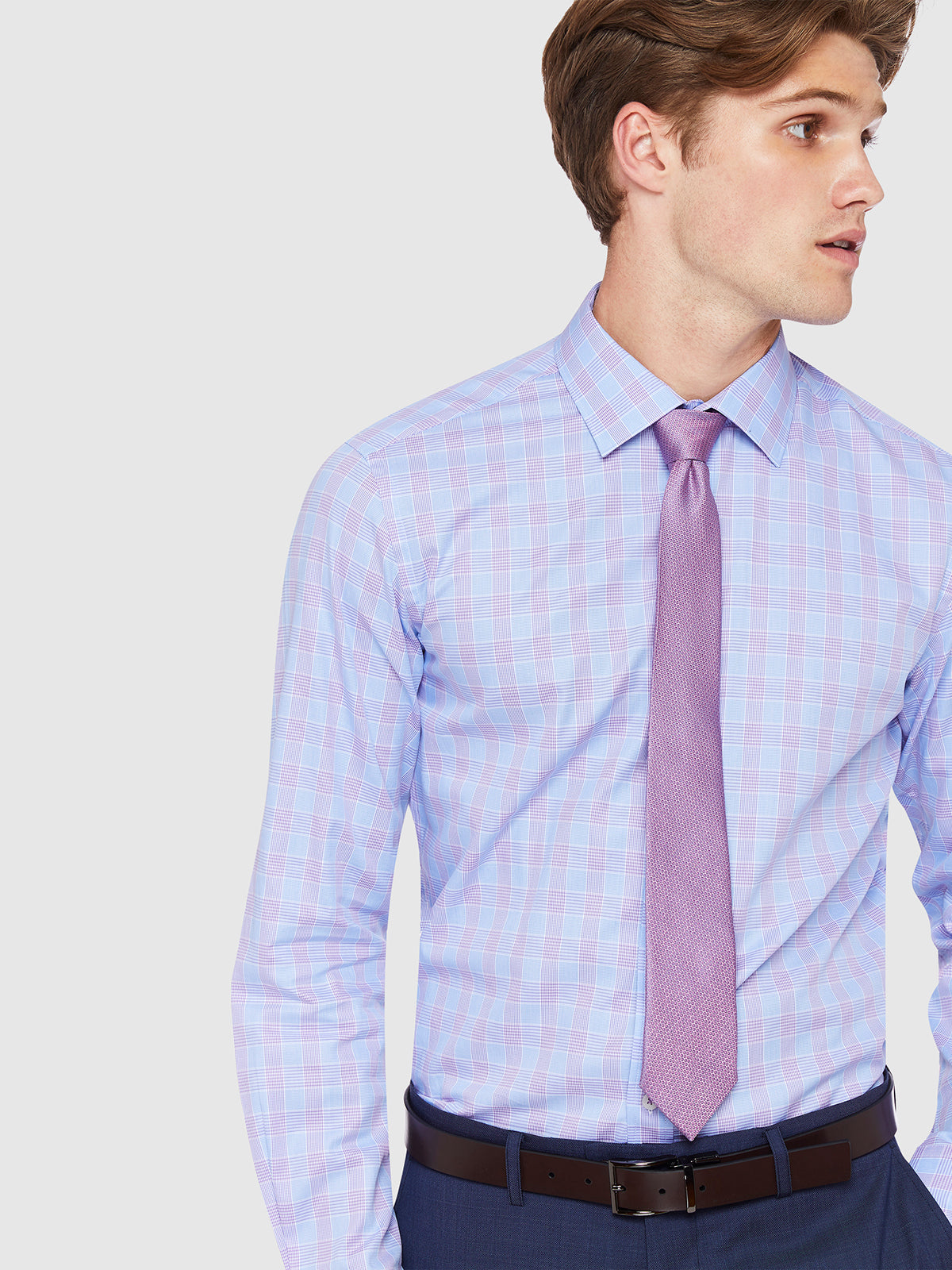 BECKTON CHECKED SHIRT PURPLE/SKY