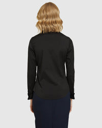 ANGEL FRENCH CUFF STRETCH SHIRT BLACK