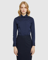 ANGEL FRENCH CUFF STRETCH SHIRT NAVY