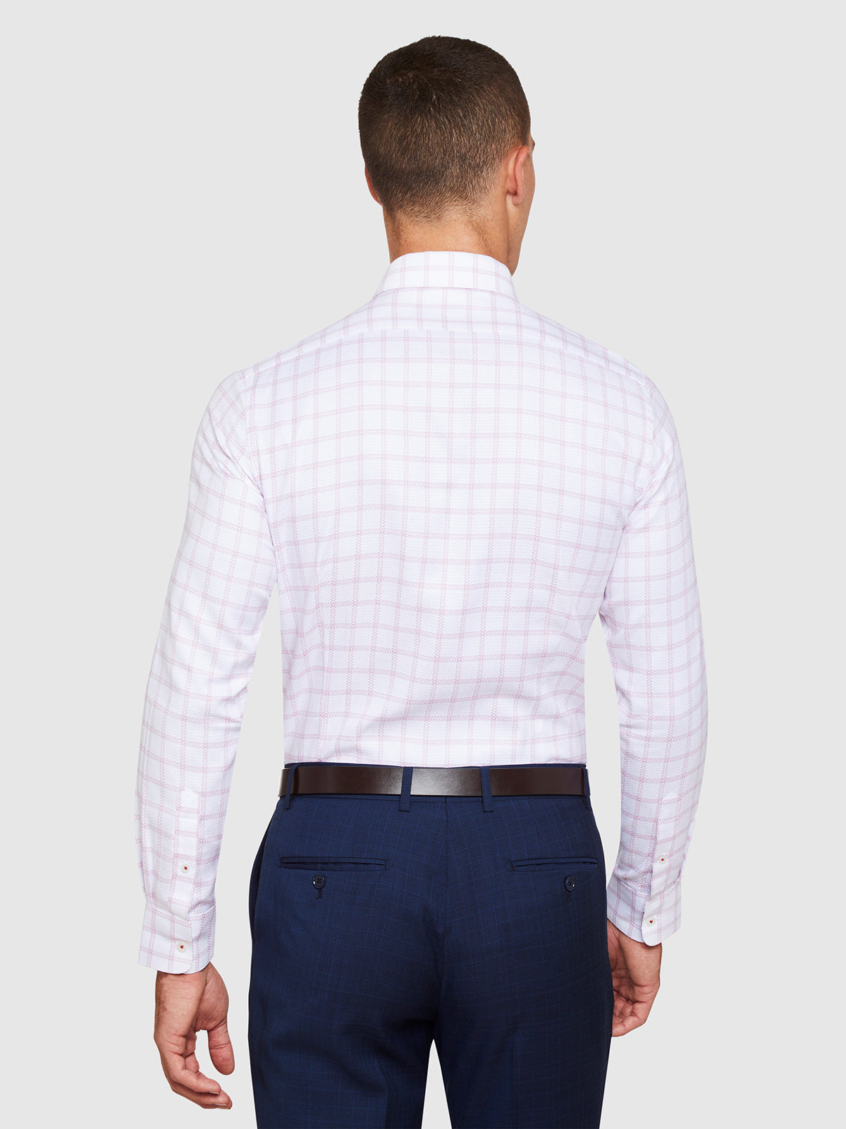 BECKTON LUXURY CHECKED SHIRT WHITE/PINK