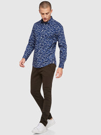 KENTON LEAVES PRINTED SHIRT NAVY/WHITE