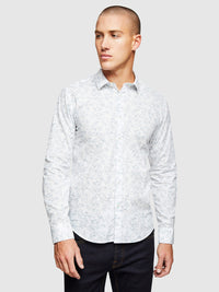 KENTON FLORAL PRINTED SHIRT WHITE/TEAL