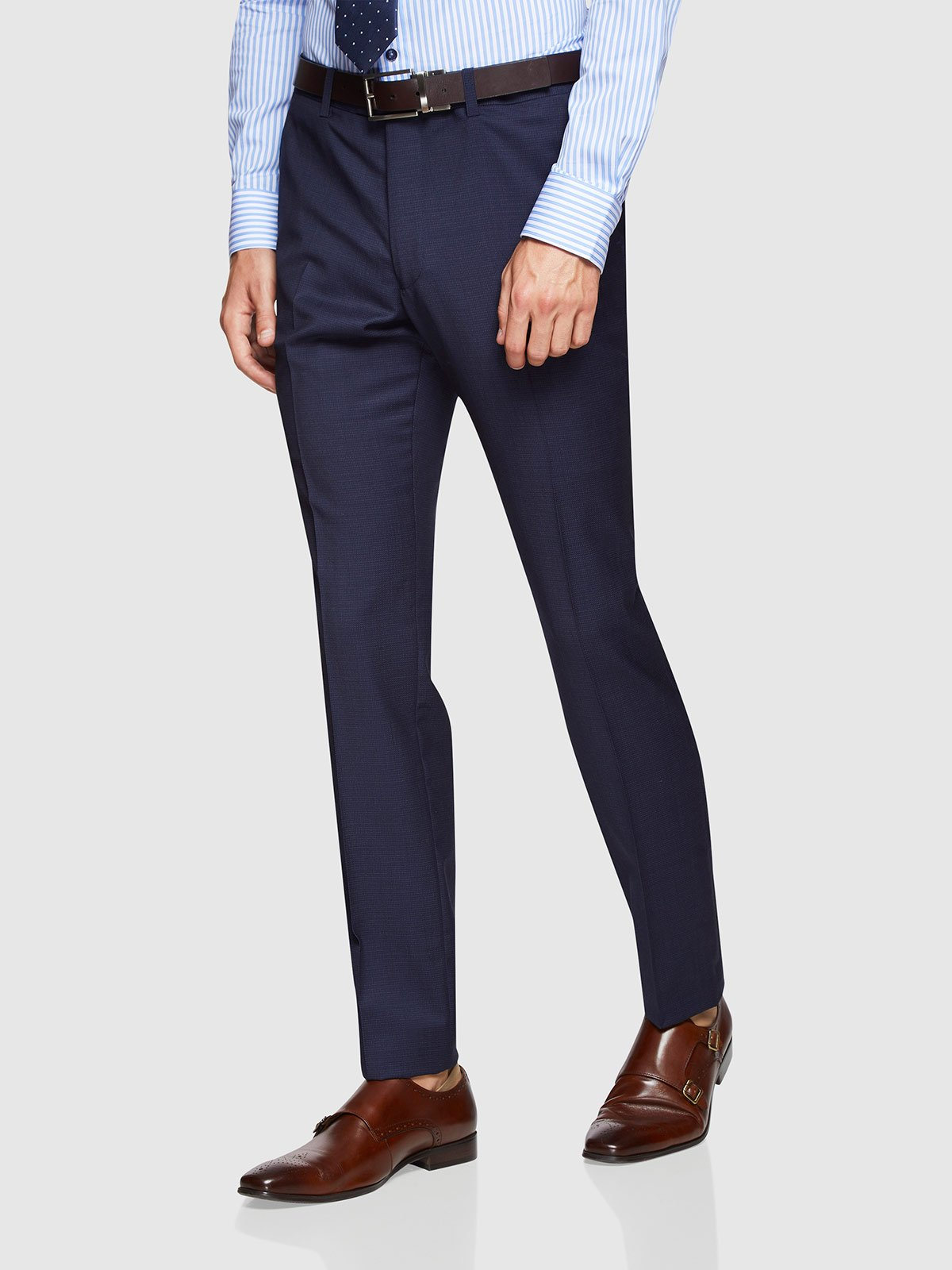 HOPKINS WOOL SUIT TROUSERS NAVY