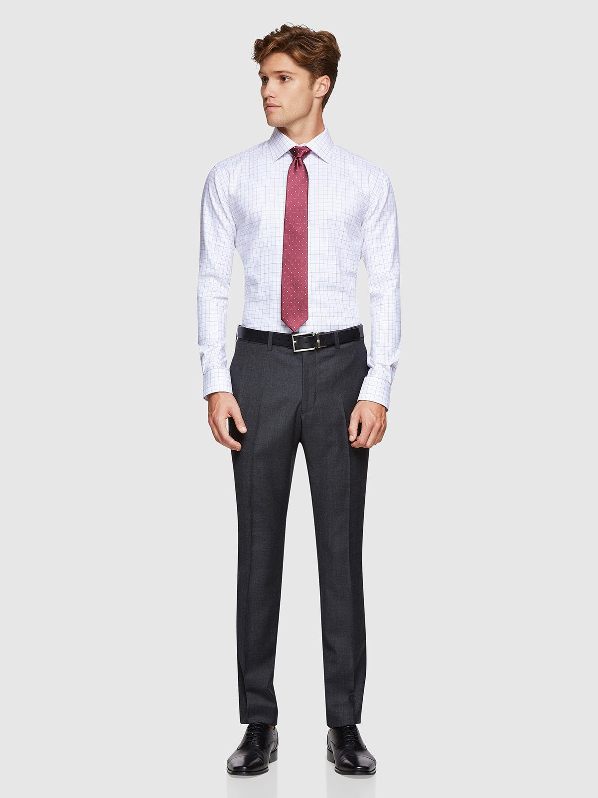 HOPKINS WOOL SUIT TROUSERS CHARCOAL