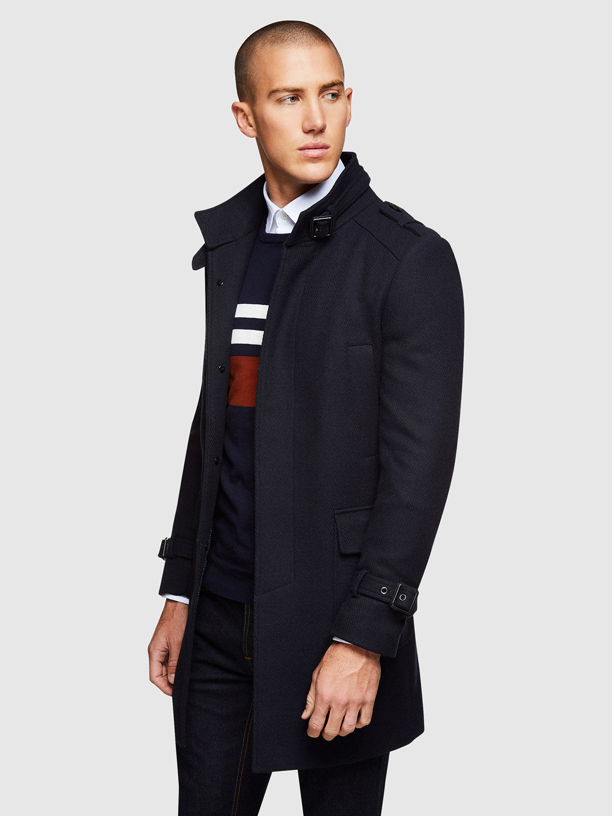 ROGER HERRINGBONE OVERCOAT DARK NAVY
