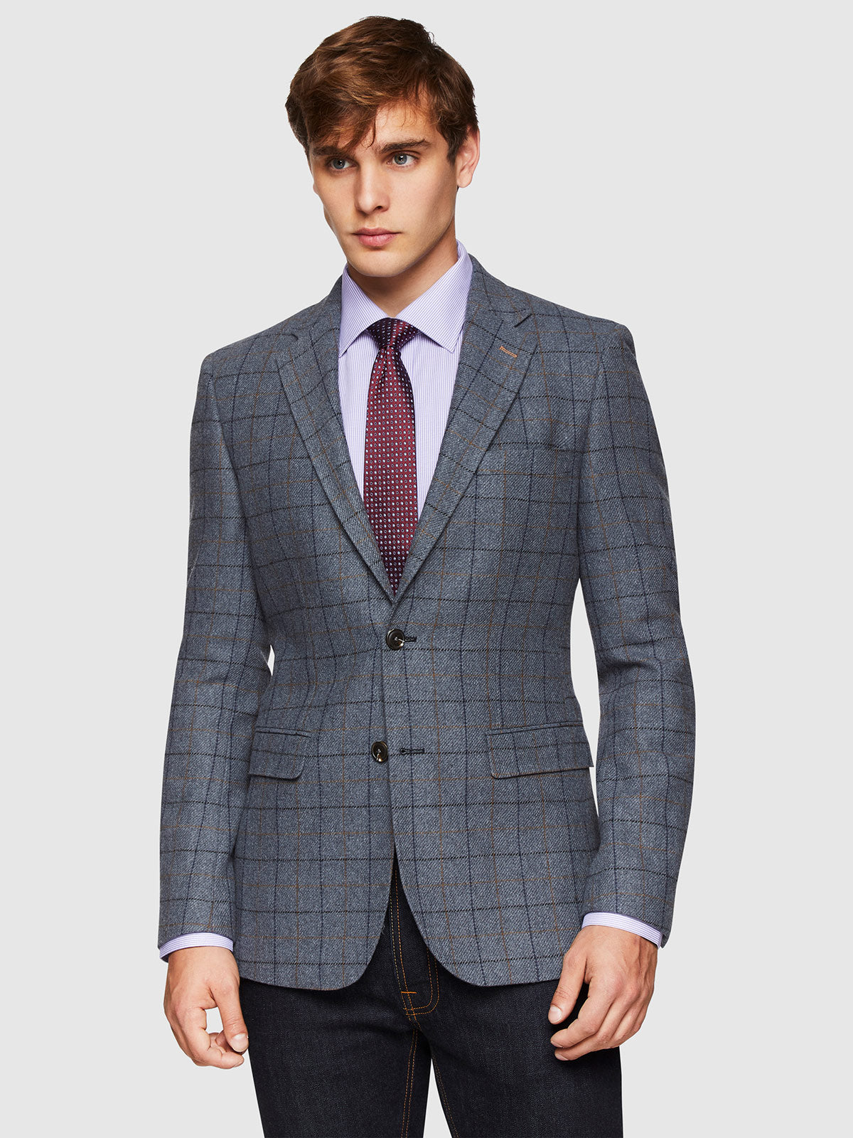 BLAKE WOOL BLEND CHECKED BLAZER BLUE