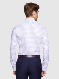 TRAFALGAR CHECKED SHIRT PURPLE/WHITE
