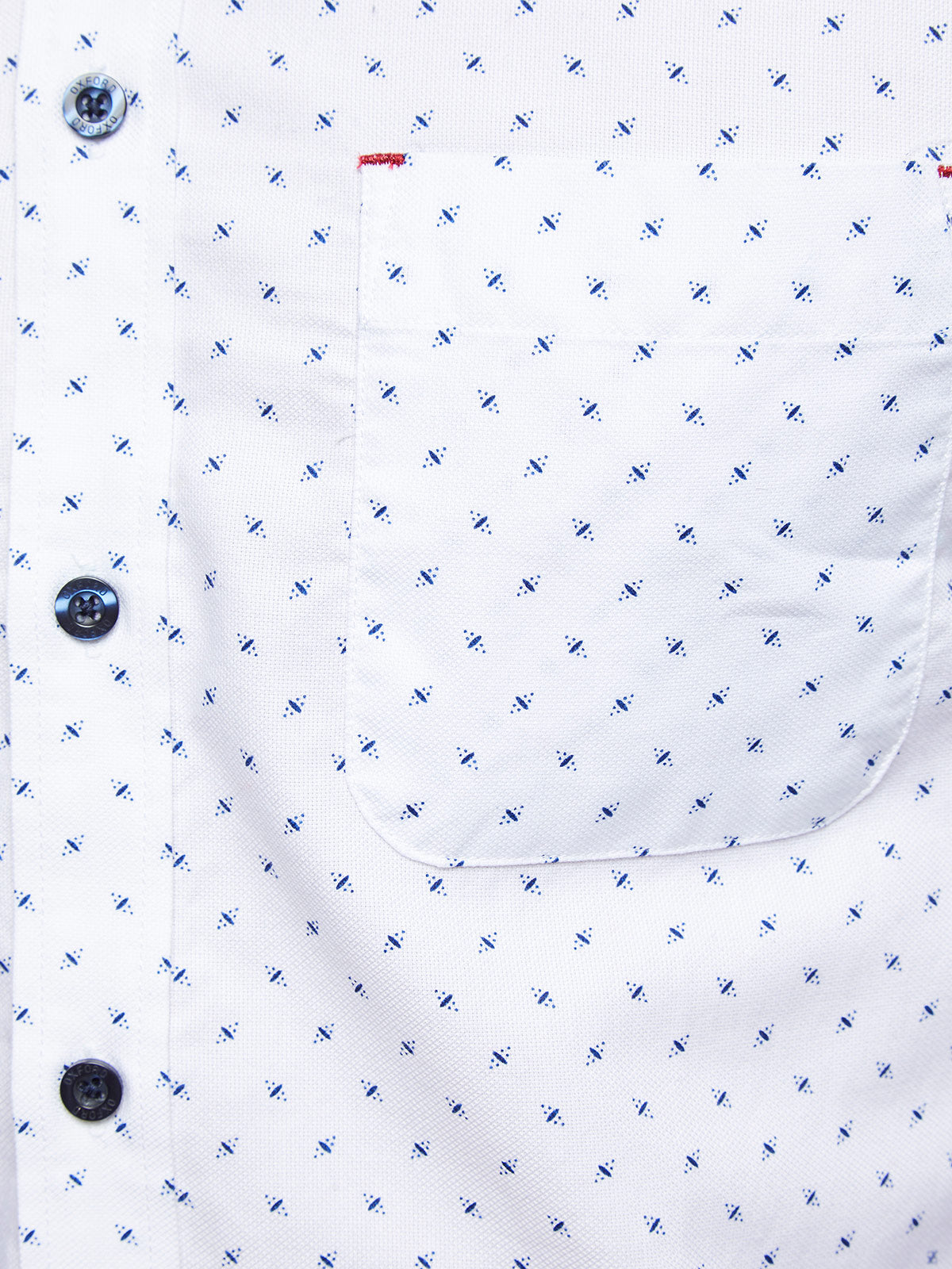 KENTON OXFORD WEAVE SHIRT WHITE/NAVY