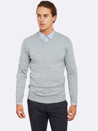 BASIC COTTON V/N PULLOVER M/GREY