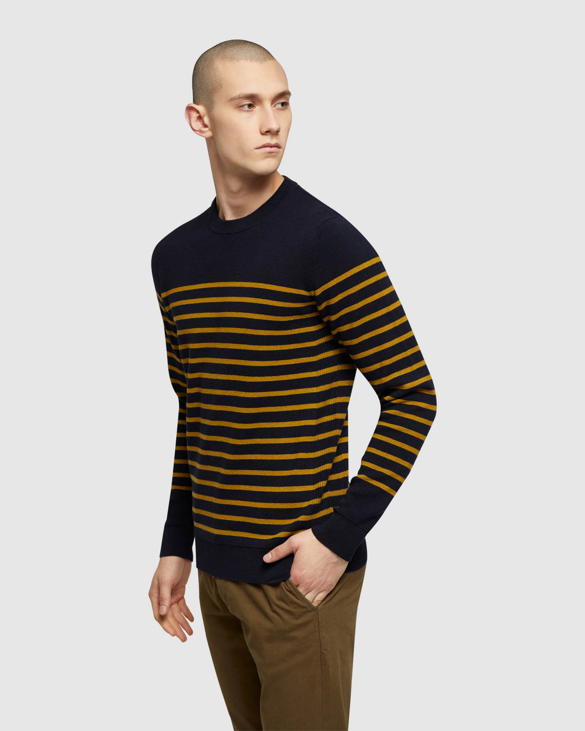 WYATT STRIPE CREW NECK PULLOVER NAVY