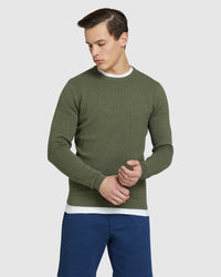 RILEY TEXTURED CREW NECK PULLOVER