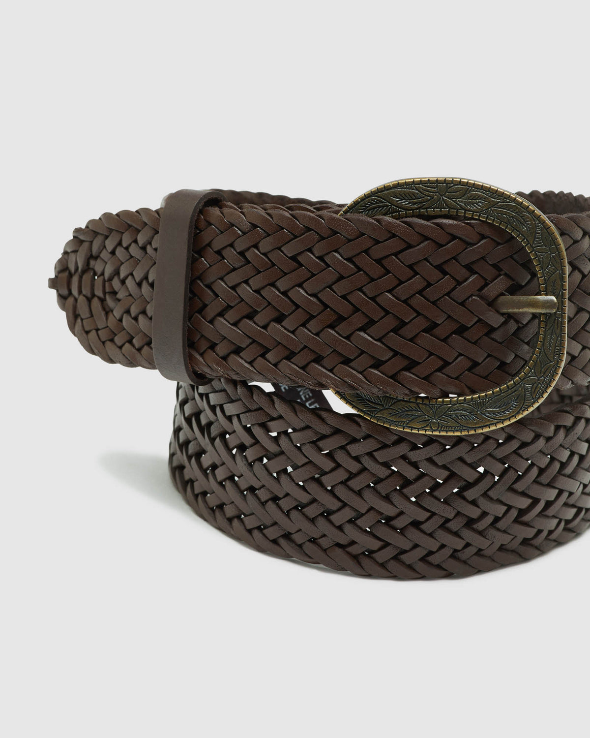 AERYN PLAITED WESTERN BELT BROWN